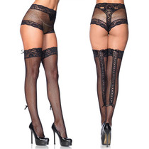 2pc Lace Trim Fishnet Panty w/Lace Up Back & Matching Thigh High O/S Black