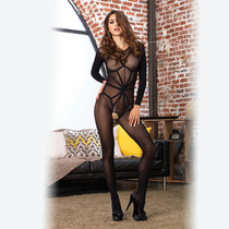 2pc Opaque Long Sleeved Bodystocking w/Harness Teddy Overlay O/S Black