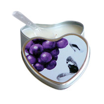 Earthly Body Grape Flavored Edible Massage Candle in 4oz Heart Shaped Tin