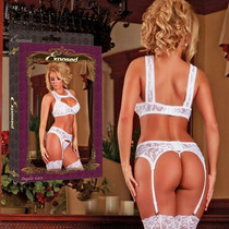 Angelic Lace Stretchy Floral Lace Bra Garter & G String Queen Sized (White)