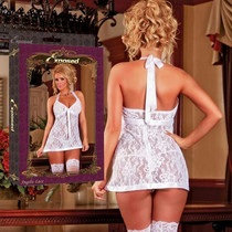 Angelic Lace Stretchy Floral Lace Baby Doll & G String Set Queen Sized (White)