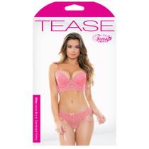 Tease Riley Lace Bra & Gartered Panty Pink S/M