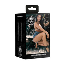 Ouch! Skulls & Bones Ankle Cuffs with Skulls - Black