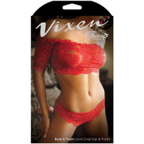 Vixen Rose & Thorn Lace Crop Top & Matching Panty Red One Size