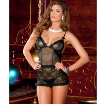 2pc Sophisticated Lace Chemise & G-string Set