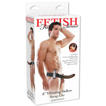 Fetish Fantasy 8in Vibrating Hollow Strap-On Brown