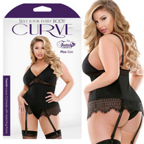 Curve Yasmin Luxury Camisole With Matching Panty Black 3X/4X