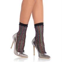 Rainbow lurex glitter fishnet anklets O/S