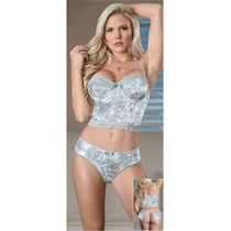 Magic Silk Velvet Moon Bustier & Panty Platinum L/XL
