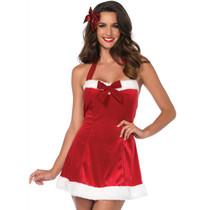 2pc Santas Little Helper,Halter Dress And Striped Stockings Red/White M/L