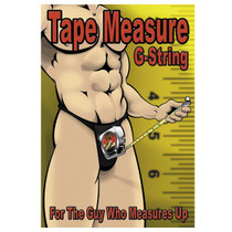 Male Power Tape Measure G-String Underwear (Black)