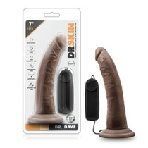 Dr. Skin - Dr. Dave - 7in Vibrating Cock with Suction Cup - Chocolate