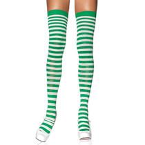 Nylon Stocking W/ Stripe O/S White/Kelly Grn