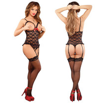 Luv Lace Cuplss Crotchless Teddy Blk 1SQ