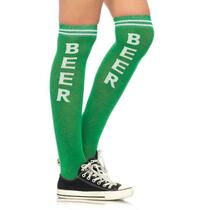 Beer Time Acrylic Athletic Socks O/S Green/White