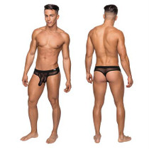 Male Power Hoser Hose Thong Black SM