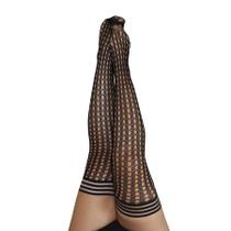 Kixies Thigh Highs Black Circle Fishnet Circle Fishnet Thigh High Tights Fabric: Nylon/Polyester/Spandex  Size D  55  6 170 lb  260 lb+ Fits up to 35 thighs MPN 1317D