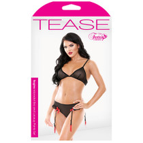 Tease Regina Microdot Bra & Lace Up Panty Set With Detachable Garters Black M/L