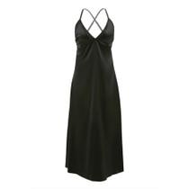 Olive Satin Slip Dress Lace up Back Phantom Black 2x