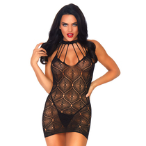 2 PC Moroccan lace mini dress with open keyhole back and matching g-string.