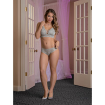 Magic Silk Lace Me Up Bralette & Cage Back Panty Grey Queen Size
