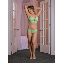 Magic Silk Lace Me Up Bralette & Cage Back Panty Green Queen Size