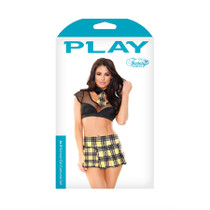 AS IF SCHOOLGIRL SET; TIE COLLAR, CROP TOP, SKIRT AND PANTY S/M BLACK.YELLOW