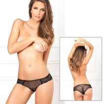 Crotchless Lace N Dots Panty Black M/L