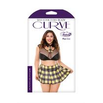 As If School Girl Costume Set; Schoolgirl; Tie Choker, Crop Top, Skirt, and Panty 1x/2x