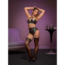 Magic Silk Oil Slick Halter Bra, Garter & Panty Set Black LX