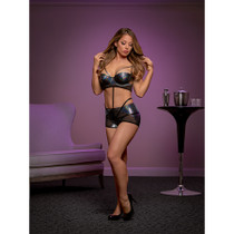 Magic Silk Oil Slick Bra, Boy Short & Removable Stirrup Set Silver LX