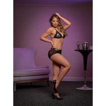 Magic Silk Oil Slick Triangle Bra & Boy Short Set Black LX
