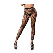 Black all over mesh/fishnet crotchless legging Can also be worn as a crop top One size fits most 92% Nylon  8% Spandex Hand wash Drip dry