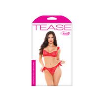 Cora Lace Bra/Side Panty Tie Set RedL/XL