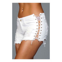 Denim Shorts With Lace Up Side White Large