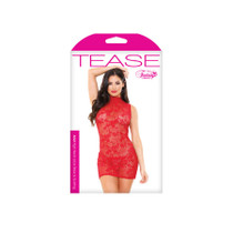 Ariel High Neck Lace Dress/Gstring Red OS