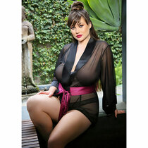 Nancy Dressing Robe Panty Set Black  3x/4x