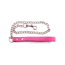 Leather Lead with Chain - PINK