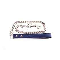 Leather Lead with Chain - BLUE