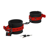 Kink By Doc Johnson Silicone Ankle Cuffs Black&Red