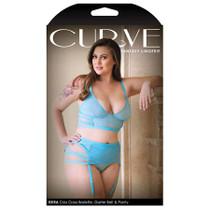 Curve Kiera Criss Cross Bralette, Garter Belt and Panty 1x/2x