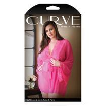 Haley Lace and Mesh Robe and Panty 1x/2x Hot Pink