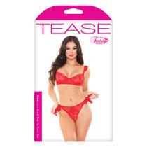 Cora Lace Bra/Side Panty Tie Set Red S/M