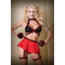 Bralette, Skirt Panty, With Detachable Leg Garter and Pom Pom Wristlets S/M Black and Red