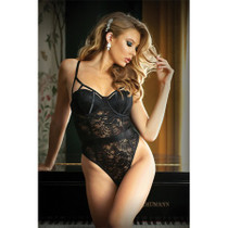 Moonlight Cage Lace Push Up Teddy With Snap Closure L/XL Black