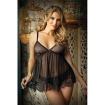 Moonlight Sheer BabyDoll with Lace Trim and Panty L/XL Black