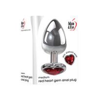 A&E Medium Red Heart Gem Anal Plug