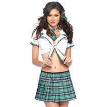4-Piece Miss Prep School Cropped Tie Top, Skirt, Tie, and Hair Bows M/L Green/White