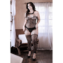 Sheer Treasure Within Strappy Halter Dress with Attached Footless Stockings QS Black