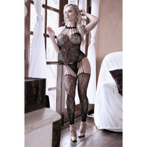 Sheer Treasure Within Strappy Halter Dress with Attached Footless Stockings OS Black